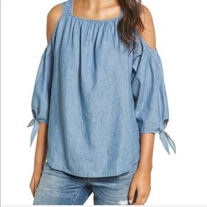 Madewell Chambray Cold Shoulder Top | Size…